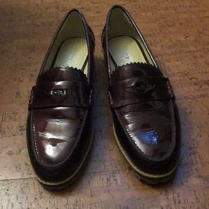 Burgundy Coach women's loafers